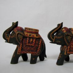 Set of 2.Elephant wooden carved hand painted,Indian art ,Rustic,Good luck,animal…