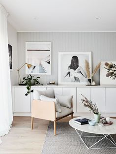 In Scandinavian style home, built-in storage hides books, toys and homework clutter, while also acting as a surface for displaying artworks. Living Room Grey, Living Room Bedroom, Living Room Furniture, Living Room Decor, Grey Furniture, Living Rooms, Nordic Living Room, Living Area, Living Spaces