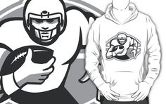 American Football Player Running Back Grayscale by patrimonio