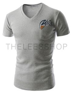 (CAS14-GRAY) Mens Slim Fit Tee Casual V-Neck Stylish Chest Point Short Sleeve Tshirts