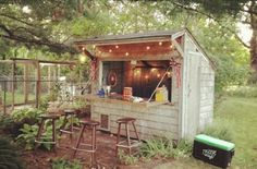 Forget Man Caves, Backyard Bar Sheds Are the New Trend. This Gorgeous DIY Proves It. Forget Man Caves, Backyard Bar Sheds Are the New Trend Backyard Bar, Backyard Sheds, Outdoor Sheds, Outdoor Bars, Outdoor Tiki Bar, Rustic Backyard, Backyard Lighting, Backyard Retreat, Barbacoa Jardin