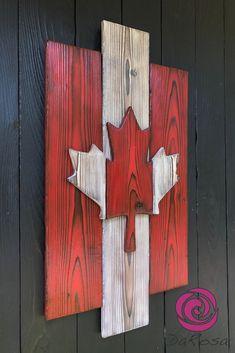 Wall Art - Rustic Wood Canadian Flag - Shou Sugi Ban - Shou Sugi Ban Rustic Interpretation of the Canadian Flag How awesome would this Canadian Flag be t - Wooden Wall Art, Wood Art, Wall Wood, Rustic Wood, Rustic Decor, Pallet Wall Decor, Wood Flag, Flag Art, Diy Wood Signs
