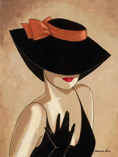 Chapeux Fashion illustration by Lorraine Dell Wood~❥: Creation Art, Female Portrait, Woman Portrait, Lorraine, Painted Rocks, Fashion Art, Art Drawings, Illustration Art, Sketches