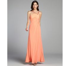 LM Collection peach crystal embellished flared chiffon gown Beautiful!! I love this, super on sale at bluefly.com
