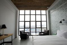 Wythe Hotel, a 1901 building transformed into an industrial-chic hotel in Williamsburg, #Brooklyn, won the 2013 T+L Design Award for Best Hotel w/ fewer than 100 rooms. #hotel #NYC