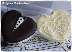 Bride & groom chocolate dipped marshmallows by Madyson's Marshmallows™. All ideas, photos and information in our shop are Copyright © 2011 BBMA, LLC DBA Madyson's Marshmallows. All rights reserved. Chocolate Dipped Marshmallows, Melting Chocolate, Chocolate Covered, Sweet Wedding Favors, Gourmet Marshmallow, Denim And Diamonds, Bride Groom, Good Food, Fun Food
