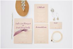 Wedding invitation, jewelry, shoes, and rsvp.