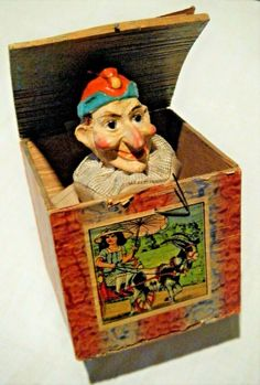 """Rare Antique GERMANY Papier-Mache Jack-In-The-Box TOY, Jester, Clown, """"Punch"""" #Unbranded Antique Toys, Rare Antique, Vintage Toys, Jack In The Box, German Pop, Victorian Toys, Send In The Clowns, Punch, Childhood Toys"""