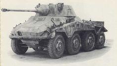 A SdKfz 234/2 'Puma' 8 rad armored car with closed turret mounting a 50mm L60 main gun