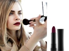 Wine colored lipstick and simple nude eye