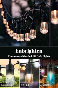 Enbrighten Commercial Grade LED Cafe Lights Patio Lighting, Bar Lighting, Vintage Cafe, Product Offering, Season Colors, String Lights, Diy Tutorial, Commercial, Homes