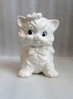 VINTAGE KITTY CAT PLANTER RUBENS ORIGINALS Embossed #630, Original foil sticker