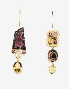 "Janis Kerman: , Earrings in 18k gold, carved tourmaline, watermelon tourmaline, yellow, pink and orange tourmaline, and citrine. Approx 2 1/2"" long."