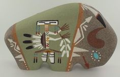 Navajo Sand Painted Pottery Buffalo by Stanley