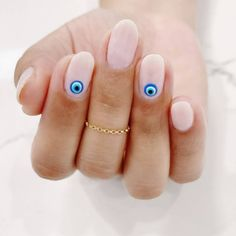 These simple nail art designs are perfect for an easy, at-home manicure Simple Nail Art Designs, Easy Nail Art, Fruit Nail Designs, Simple Gel Nails, Cute Easy Nails, Evil Eye Nails, Local Nail Salons, Nagellack Design, Funky Nails