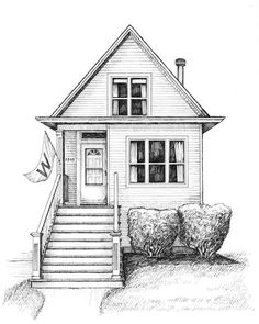 Renderings/drawings of bungalows, two-flats, six-flats, Chicago-style residential architecture in pen and ink, greystones illustrated and Victorian cottages Rendering Drawing, Architecture Concept Drawings, Building Sketch, Building Drawing, Art Drawings Sketches Simple, Pencil Art Drawings, Residential Architecture, Architecture Design, House Colouring Pages