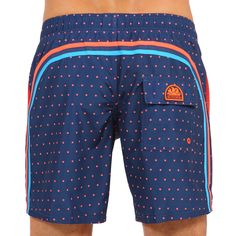 POLKA DOTS PRINT LONG SWIM SHORTS WITH RAINBOW BANDS COLOR NAVY (M505BDP02PO-007) | Man Sundek