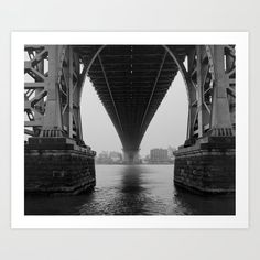 Under the Williamsburg Bridge in New York City. Captured on medium format B&W film with a Mamiya 7 rangefinder camera. #PhotoArtPrint #BlackAndWhite #FilmPhotography #WilliamsburgBridge #NYC #NewYorkCity #Bridge #Architecture