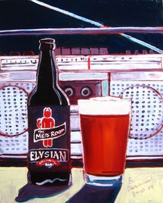 Beer Painting of The Mens Room Original Red by Elysian Brewing Co. Year of Beer Paintings - Day 253.