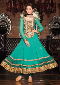 TURQUOISE BLUE PURE GEORGETTE ANARKALI 6001B