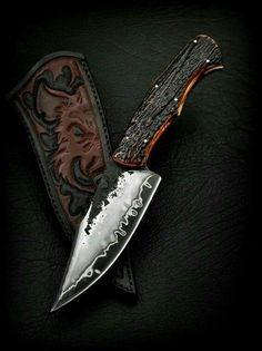 Wild Boar Carved leather knife Sheath