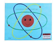 "Kids Science Art - Hello My Name is Atom - 16"" x 20"" - Kids Canvas Wall Art - Playroom Art - Boys Room Art - Science Nursery - Science Decor"