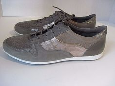 Womens ECCO Silver Leather Suede Sneakers Size  39 EU, NEW #ECCO #Sneakers
