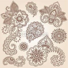 Vector: Henna Paisley Tattoo Mandala Doodles Vector Design Elements
