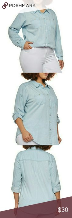 Plus size denim shirt NWT. ⬇ HP ESSENTIAL STYLE BY VIOLET507  Easily rolled up sleeves, light washed denim, with functional buttons in front fits true to size, very cute with white pants. Tops