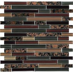 use as accent strip for kitchen backsplash --  tan brown granite... Spectrum English Brown-1664 Granite And Glass Blend 4 in. x 4 in. Sample Swatch Mesh Mounted Tile-ENGLISH BROWN SAMPLE at The Home Depot