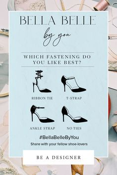 Design your dream wedding shoes with Bella Belle! Turn your wedding vision to reality and design the perfect wedding shoe that fits your personality. T Strap, Ankle Strap