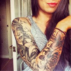 Sugar Skull Tattoo Sleeve For Women