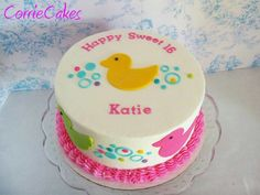 Love Ducks round 2 layer, iced in BC with MMF decorations Baby Shower Duck, Baby Shower Cakes, 1st Birthday Cakes, Birthday Parties, Cupcake Cakes, Cupcakes, Girl Cakes, Cake Girls, Sweet 16