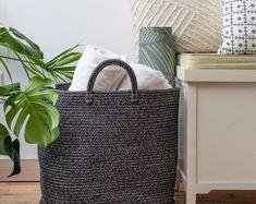 Laundry Organizer Laundry Room Decor Laundry Basket Holder | Etsy Laundry Basket Holder, Laundry Basket Organization, Laundry Hamper, Laundry Organizer, Big Basket, Rope Basket, Basket Weaving, Blanket Holder, Baby Toy Storage