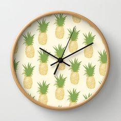 Pineapple Gold Wall Clock by The Wallpaper Files