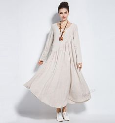 Anysize linen&cotton maxi dress with side seam pockets plus size dress plus size clothing Tesettür Şalvar Modelleri 2020 Dress Plus Size, Plus Size Outfits, Lino Natural, Natural Linen, Moda Casual, Maxi Robes, Plus Size Kleidung, Full Figured Women, Plus Size Tops