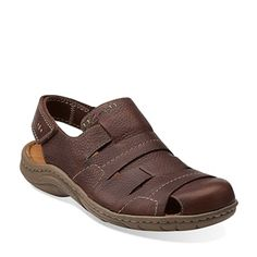 Clarks Originals - Woodlake Bay Dark Brown Leather $100. his men's fisherman's sandal, made of full-grain leather in dark brown, will add a dose of cool to your warm-weather wardrobe. Features a riptape closure to ensure the perfect fit and a durable rubber outsole for advanced cushioning and traction. Adds laid-back style to jeans, khakis, and shorts.