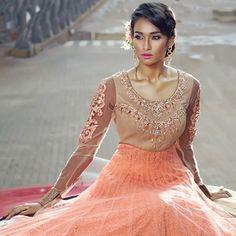 #Orange #Anarkali Churidar Kameez