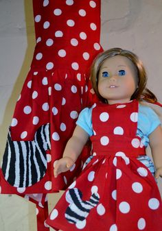 American Girl Matching Minnie Mouse Apron, Little Girl Matching 18in Doll Apron, Inspired by my Love of Minnie