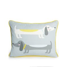 If you're dotty about dogs, then you'll love this fun sausage dog cushion from George Home. Featuring two cartoon dogs and a bright yellow back and edge pipi. Dog Cushions, Cartoon Dog, Kids Toys, Home And Garden, Throw Pillows, Children, Dogs, Sausage, Bedroom