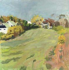Fairfield Porter, The Long Field, 1961. (meadow, houses)