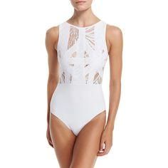 Oye Swimwear Elsa Lace & Lattice One-Piece Swimsuit ($350) ❤ liked on Polyvore featuring swimwear, one-piece swimsuits, white, lace one piece swimsuit, lace swimsuit, 1 piece bathing suits and high neck swimsuit