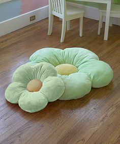 Green flower cushions ended up outside as child's lounge beds, look so cute on the lawn or patio.