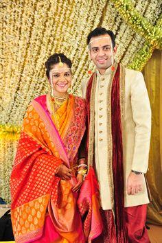 Stunning Mango Yellow Saree with Pink Paithani Saree Marathi Bride, Marathi Wedding, Saree Wedding, Bridal Sarees, Wedding Looks, Wedding Pics, Wedding Bride, Wedding Ideas, Wedding Album