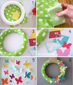 Make a paint chip wreath with this easy wreath tutorial. DIY wreath made with paint chips for home decor in spring season. DIY spring wreath idea for home. Wreath Crafts, Diy Wreath, Easter Wreaths, Holiday Wreaths, Couronne Diy, Spring Tutorial, Diy And Crafts, Crafts For Kids, Butterfly Painting