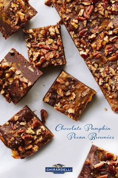 The simplest way to make your holiday desserts stand out? Bake with really good chocolate. Our Ghirardelli 60% Cacao Baking Chips are the #SweetestSecret behind these delicious Chocolate Pumpkin Pecan Brownies.