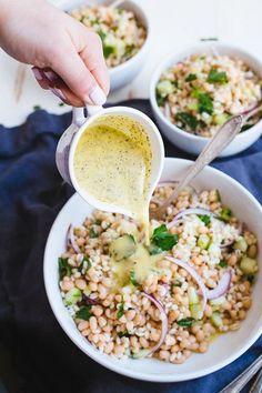 White Bean & Barley Salad With Greek Vinaigrette | theblondechef.com
