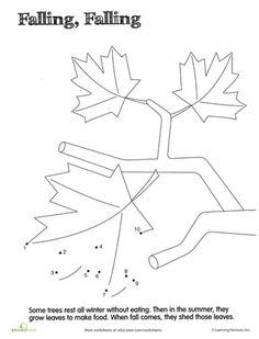 Worksheets: Dot to Dot 1-10: Leaves
