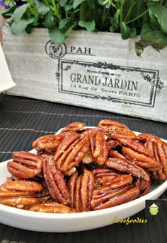 Maple Roasted Pecans Very quick and easy snack and so addictive! Once you start, you can't stop so be sure to make plenty!