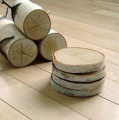 White Birch Wood Coaster  Set of 4 by urbanplusforest on Etsy. madera